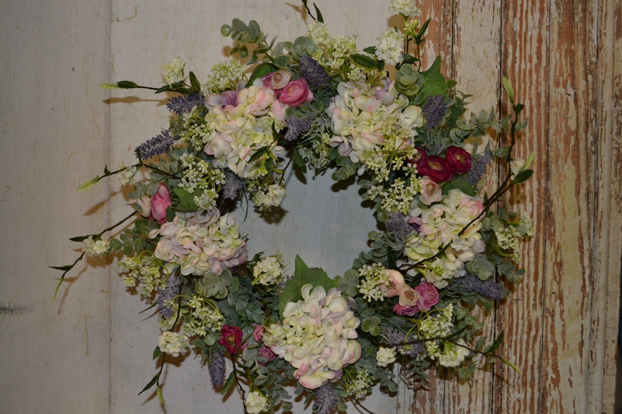Custom Pink Ranunculus and Hydrangea Wreath
