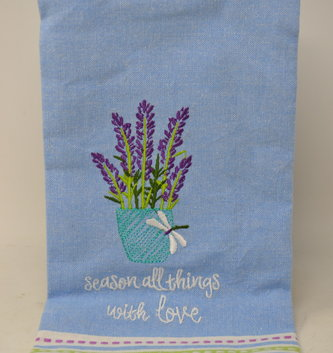 Embroidered Pot Of Lavender Towel