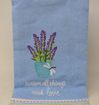 Embroidered Pot Of Lavender Towel