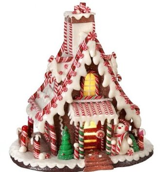 Candycane Snowman Gingerbread House