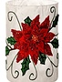Frosted Glass Vase With Embroidered Poinsettia
