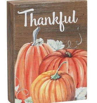 Thankful Pumpkin Mini-Block Sign