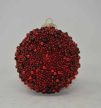 Beaded Red Ball Ornament