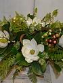 Custom Magnolia Arangement in Ceramic Oval Container