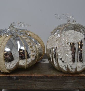 Mercury Glass Glitz Pumpkin (2-Styles)