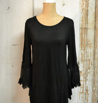 Lace Trim Bell Sleeve Tunic (2-Colors/4-Sizes)