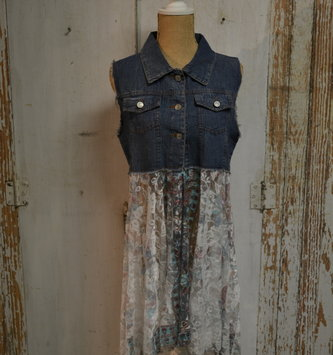 Hi-Lo Lace and Denim Vest (2-Sizes/3-Colors)
