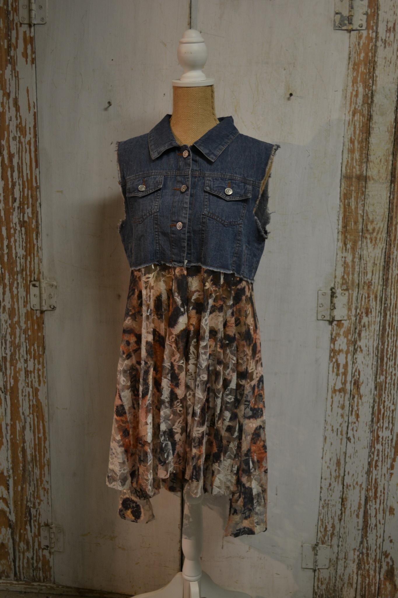 Hi-Lo Lace and Denim Vest (2-Sizes/5-Colors)
