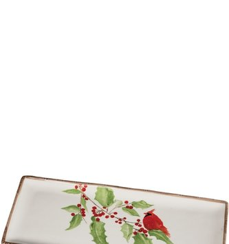 Rectangular Holly Cardinal Tray