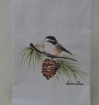 Chickadee On Branch Towel