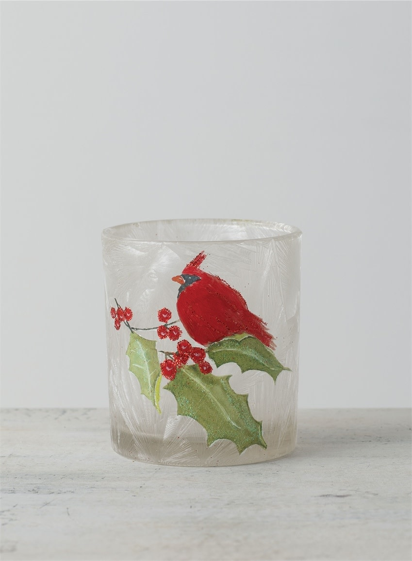 Holly Cardinal Candle Holder