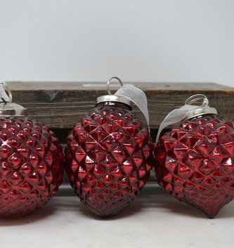 Red Mercury Glass Dimpled Ornament (3-Styles)