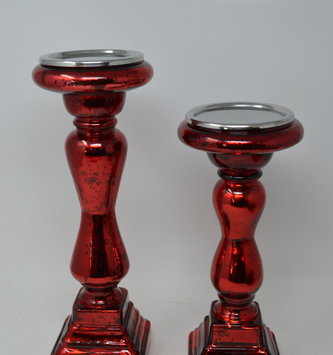 Red Mercury Glass Candle Stick (2-Sizes)