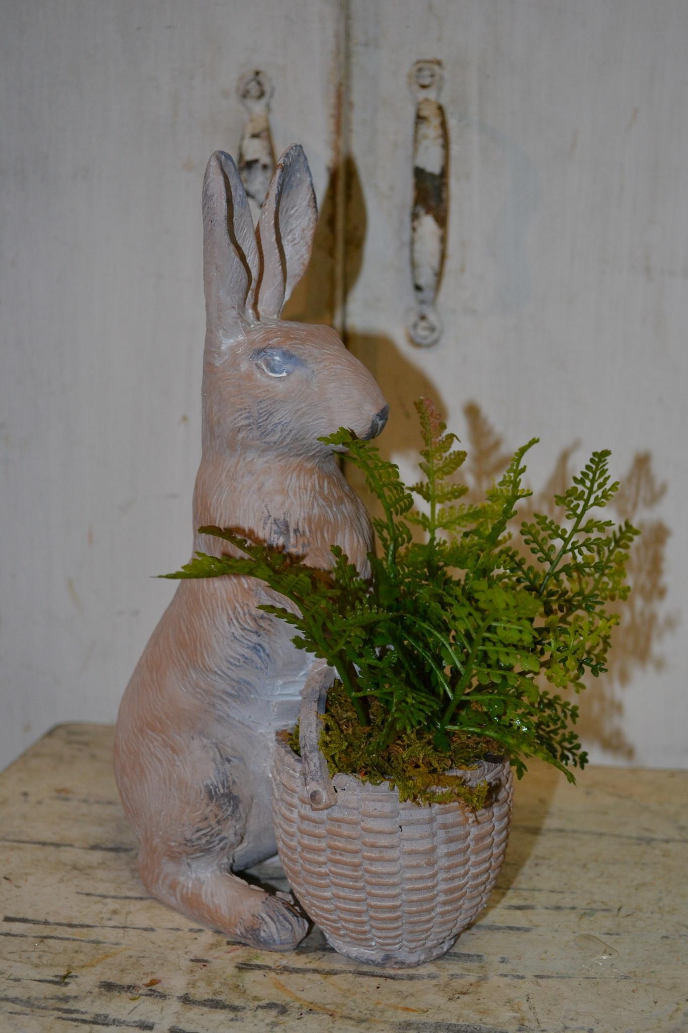 Custom Bunny With Fern Basket Arrangement