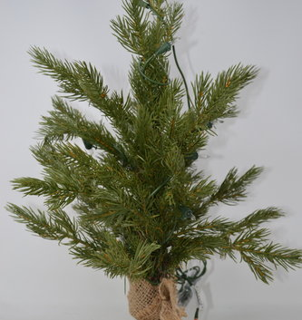 "18"" Pre-Lit Pine Tree In Burlap"