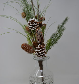 Mixed Winter Pinecone Pick