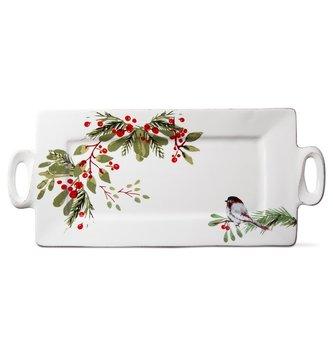 Berry Foliage Bird Platter With Handles