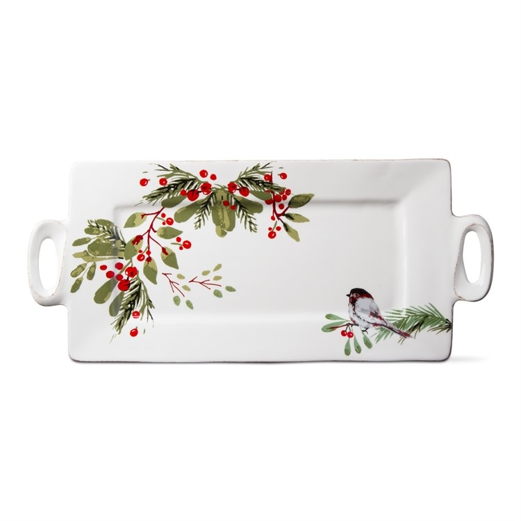 Berry Foliage Bird Platter With Handles