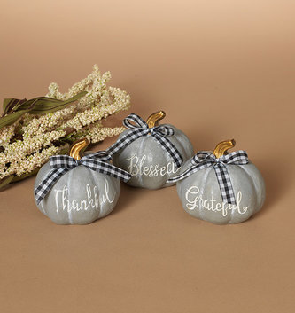 Gray Pumpkin With Bow (3-Styles)