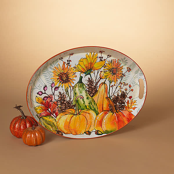 Oval Pumpkin And Sunflower Tray