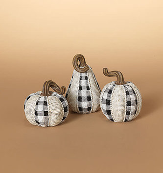 Small Resin Gingham Pumpkin (3-Styles)