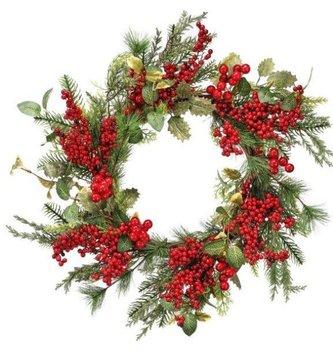 "24"" Mixed Glitz Greenery Berry Wreath"