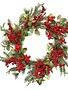 "24"" Mixed Glitz Greenery Berry Wreath"