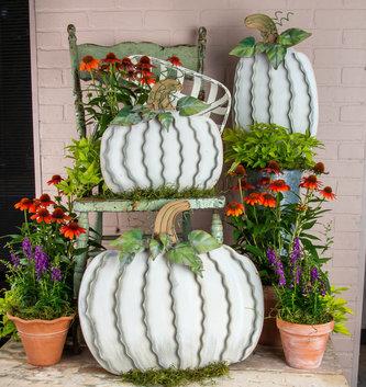 Set of 3 Cream & Green Metal Pumpkins