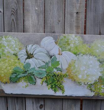 Hydrangea & Pumpkin Painted Canvas Print