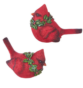 Set of Two Red Cardinals With Holly