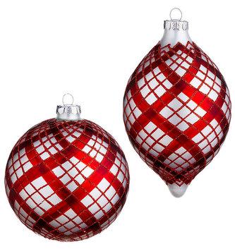 "4.75"" Glass Plaid Ornament (2-Styles)"