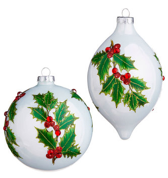 Glass Beaded Holly Ornament (2-Styles)