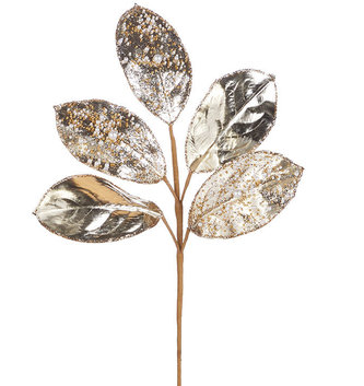 "23"" Bead and Pearl Magnolia Leaf Stem"