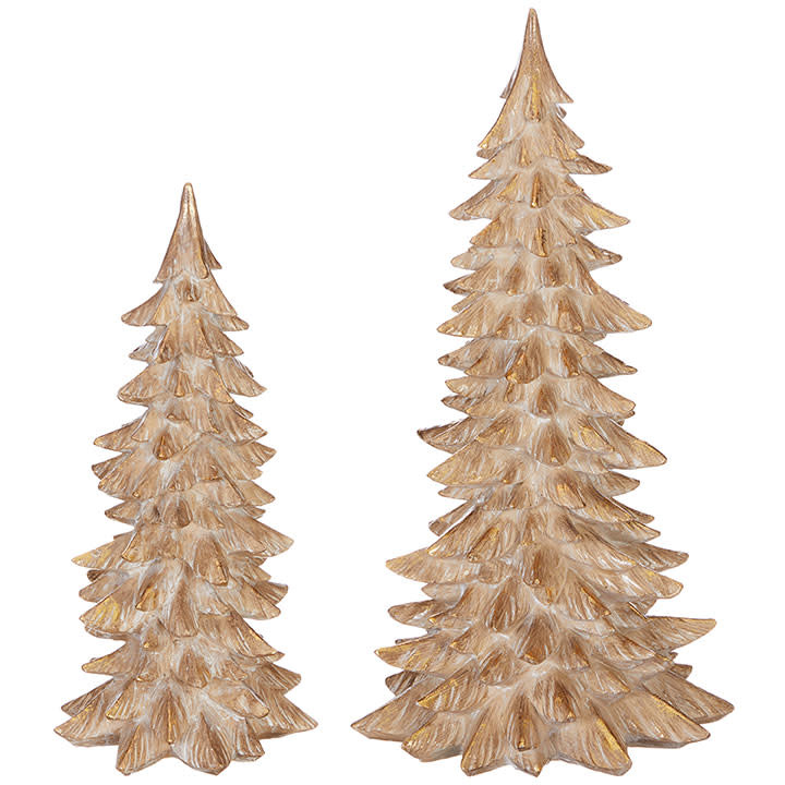 Set of 2 Gold Tipped Christmas Trees
