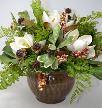 Custom Magnolia Arrangement with Berries