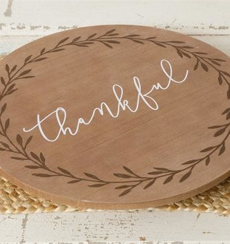 Thankful Wooden Lazy Susan