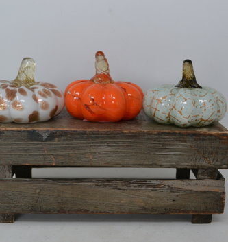 Mini Autumn Handblown Glass Pumpkin (3 Styles)