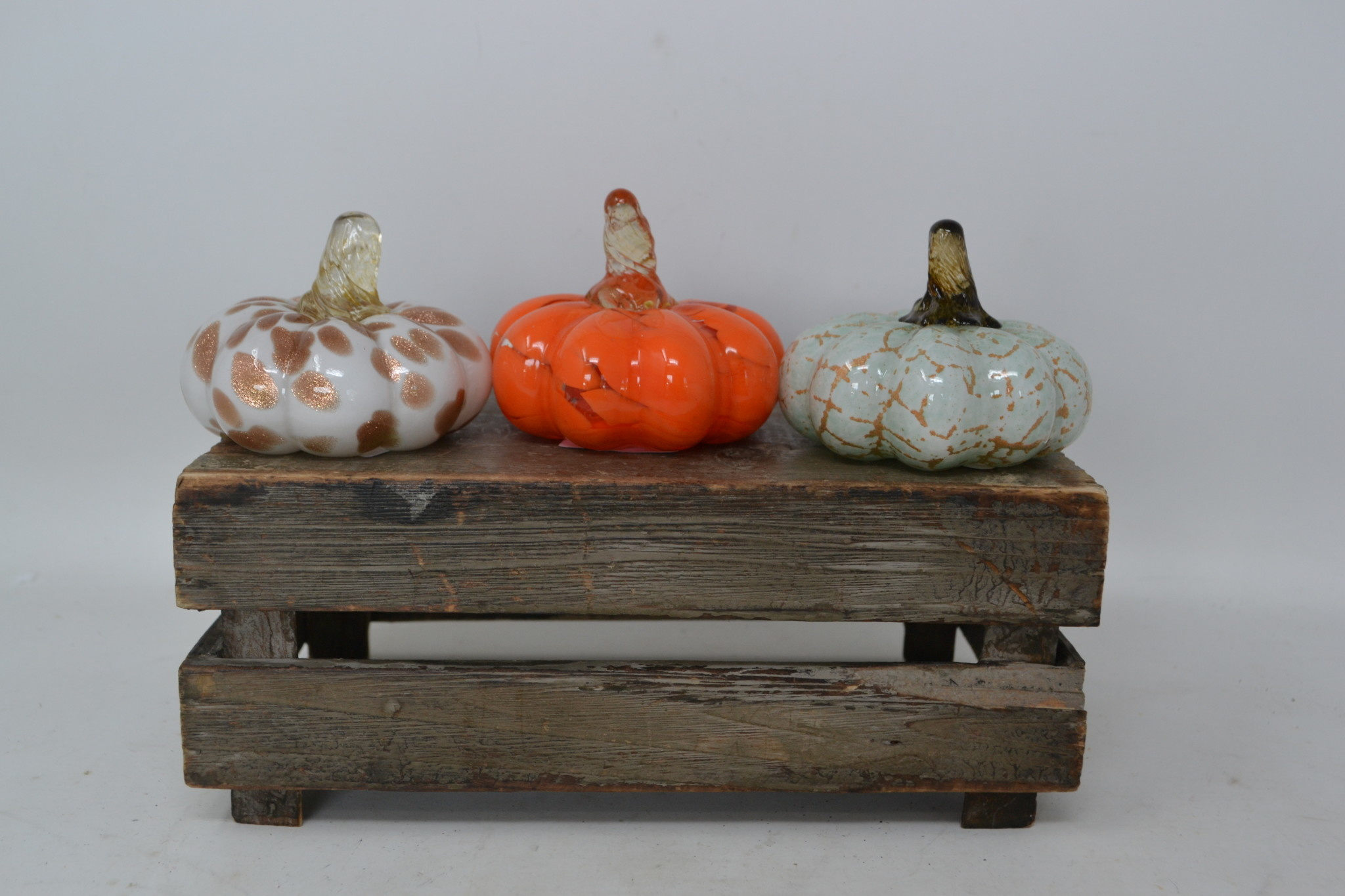 Mini Autumn Handblown Glass Pumpkin (3-Styles)