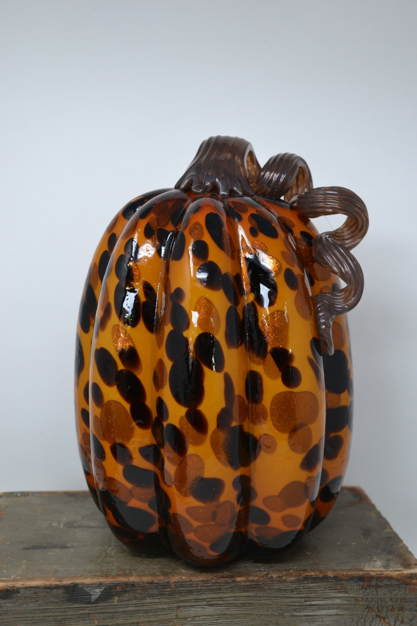 Handblown Tortoise Shell Pumpkin (2-Sizes)