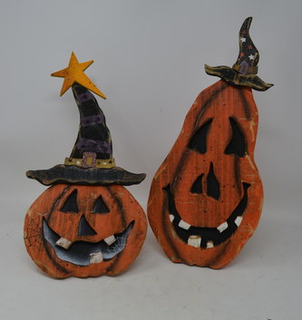 Wooden Tabletop Jack-O-Lantern (2-Styles)
