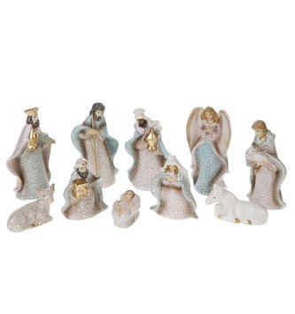 10 Piece Mini White Nativity Set