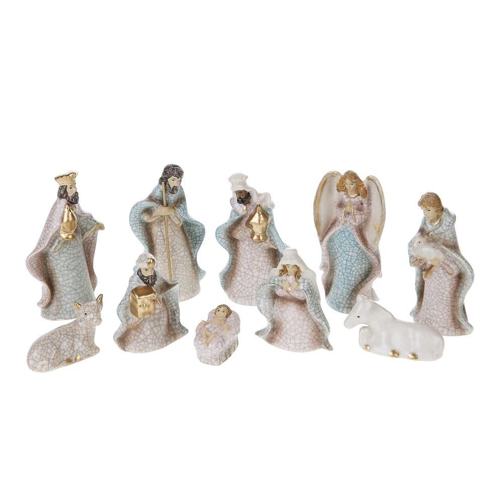 10 Piece Mini White Nativity Set