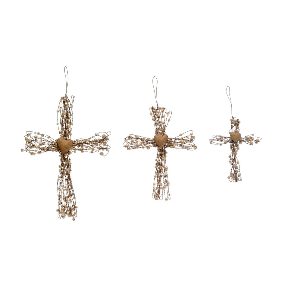 Beaded Wire Cross with Heart (3-Sizes)