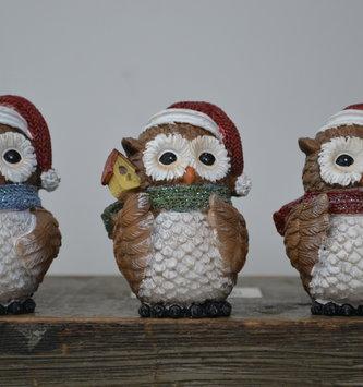 Set of 3 Jolly Christmas Owl's