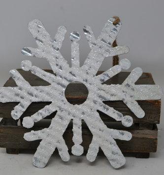 Iced Metal Snowflake Ornament (3-Styles)