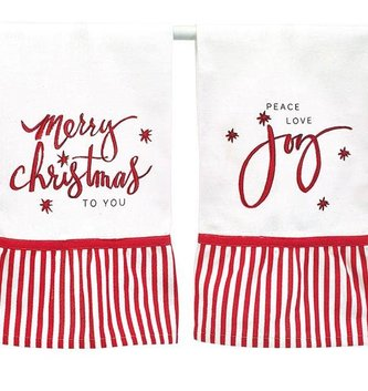 Red & White Holiday Tea Towel (2-Styles)