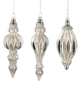 Platinum Mercury Glass Finial Ornament (3-Styles)