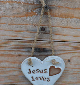 Jesus Loves Me Ceramic Heart Ornament