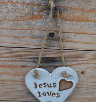Jesus Loves Me Ceramic Heart Ornament