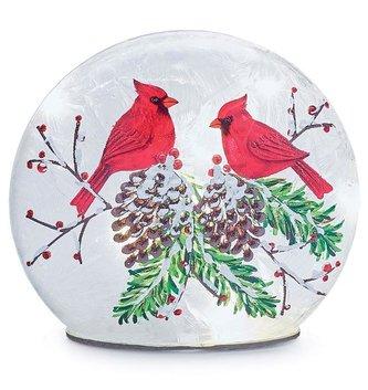LED Cardinals on Pine Disk